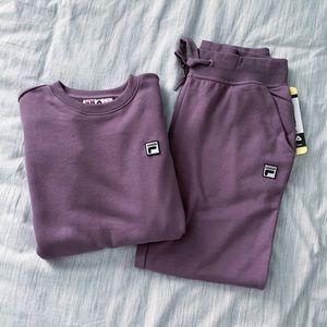 Fila purple terry jogger set